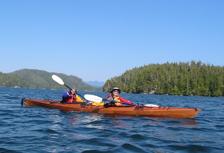 Jane and Randy in kayak Randy built at Broughton Archipelago